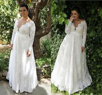 Plus Size A- line Wedding Dresses Sexy Sheer V Neck Long Slee...
