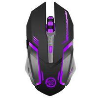 Ratón de juego inalámbrico recargable de 7 colores Respiración de luz de fondo Comfort Gamer Mice para computadora PC portátil de escritorio para Pro Gamer