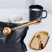 Acero inoxidable del oro del café de la cucharada de múltiples funciones del sellado clip de tierra cuchara de café Vasos Herramientas envío libre