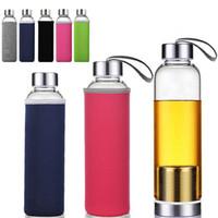 Mais novo 22 oz Garrafa De Água De Vidro BPA Resistente Ao Vidro de Alta Temperatura Garrafa De Água De Vidro Com Filtro de Chá Garrafa Infusor Manga Nylon HH7-1087