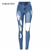 PADAUNGY New High Waist Torn Jeans Women Ripped Hole Jean Fe...