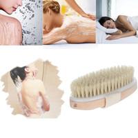 Poitrine naturelle de nettoyage en bois salle de bain douche de soins de santé en bois brosse corps de bain pour bain de bain brosse avec peau sèche