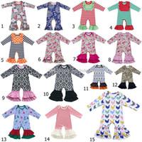 2018 neue floral Rüschen Strampler Baby Mädchen Jumpsuits Baumwolle Kinder gekräuselte Schlafanzug Kinder Klettern Kleidung 37 Stile C3378