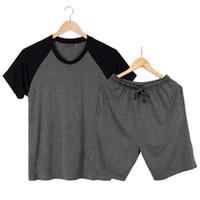 83e8c90c97 Ropa de hombre para pijamas de verano conjuntos de manga corta modal  delgada ropa para el hogar suelta pantalones de pijamas de gran tamaño  casual