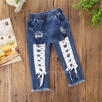Best selling explosion girls pants 2019 new hole loose jeans...