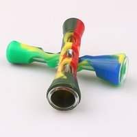 Mais novo Mini Colorido De Vidro De Silicone Tubulação De Fumo Múltiplas Cores Inovador tubo de filtro de cigarro Portátil