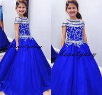 Royal Blue Girls Pageant Kleider für kleine Mädchen Blaue Kleider 2019 Kleinkind Kinder Ballkleid Glitz Blumenmädchen Kleid Hochzeiten Perlen Größe 4 6 8
