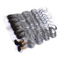 Peruanisches Ombre Silver Grey Menschenhaar Tressen mit Frontal Körperwelle # 1B / Grau Ombre 13x4 Spitze Frontal Schließung mit Virgin Hair Weave Bundles