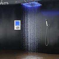 """3 струи LED интеллектуальный цифровой дисплей дождь душ установлен в стене 20 """" СПА туман осадков Термостатический сенсорная панель смеситель"""