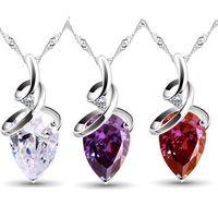 Cadena Collar de plata de la gota del agua y colgante corazón de cristal de procesamiento de Pong de la joyería 925 joyas de plata esterlina collar de piedra del corazón
