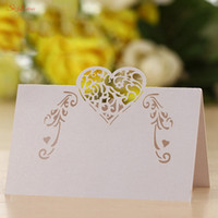 100Pcs Hollow Heart Shape Paper Table Name Card Laser Cut Se...