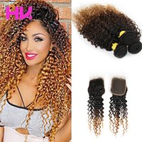 8a Ombre malaysian deep wave Human Hair Bundles with 4*4 Clo...