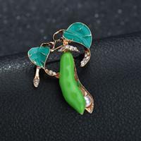 Verde carino baccelli di pisello pianta elegante spille pin gioielli sciarpa accessori corpetto moda spilla spille di cristallo per le donne