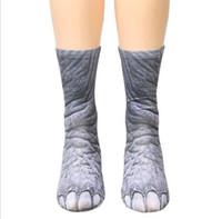 Adultos Animal Pata pies Calcetines impresos Moda Unisex Animal Crew Creativo Impresión en 3D Deportivo adolescente Impresión digital Simulación Calcetines