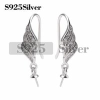 5 Pairs Hook Earwire Mounts for Round Pearls 925 Sterling Si...