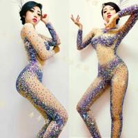 DJ Songbird Moda Tasarım Seksi Perspektif Rhineston Bodysuit Kostüm Partisi Gösterisi Kadın Şarkıcı Sahne Gece Kulübü Performans Giyim Tulum