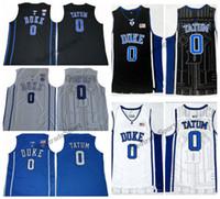 Herren Duke Blue Devils Jayson Tatum # 0 College Basketball Trikots Schwarz Blaue Weiß Elite genähte Hemden S-XXL