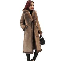 Atacado-2017 novo inverno casaco de couro de camurça mulheres moda longa e grossa de pele de cordeiro Parka feminino Faux pele de carneiro blusão jaquetas YQ401
