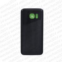 Tapa de la batería Cubierta trasera de la cubierta Cubierta de vidrio para Samsung Galaxy S7 G930P S7 Edge G935P G935F con adhesivo adhesivo sin DHL