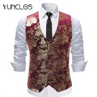YUNCLOS Bronzing Suit Vest Pour Hommes Single Breasted Marié Marié Slim Fit Gilet De Soirée Robe Costume Gilet Chaleco Hombre