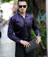 Camisa de terciopelo de seda de otoño invierno de los hombres de moda Dragón de impresión Negro azul de manga larga Tops de terciopelo camisas suave y gruesa camisa de vestir cálida
