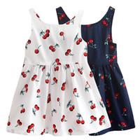 فستان لفتاة 2018 الصيف القطن الكرز القوس ديكور الأميرة اللباس الأزهار سترة فساتين للبنات ملابس الأطفال vestidos
