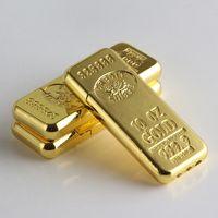 Nouvelle arrivée Cigarette Accessoires Mode nouvelle Gold Bar Forme de torche Briquets au gaz butane Meule Briquet en métal