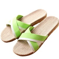 b313cd991b92a5 New Summer Women Flax Flip Flop Canvas Cross Linen Non-Slip Flat Sandals  Home Slippers Ladies Fashion Slides Casual Straw Shoes