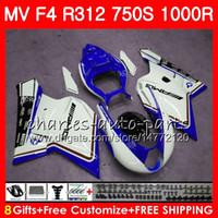 Carrocería para MV Agusta F4 1000R 312 1078 nuevo azul blanco 1 + 1 750 1000CC 05 06 102HM76 750 R312 750S 1000 R MA MV F4 2005 2006 05 06 Carenado