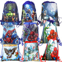 6pc Lot Avengers Spiderman Batman Cartoon Drawstring Bag Schooltravelpicnic Backpack Birthday Xmas Gift Goodie Party Decor