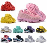 95 X Foot Locker 2018 Scarpe da corsa per donna Piet Parra x Red Yellow Pink Frequenza Special Edition velluto a coste 95 95s Sneakers sportive