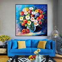 سكين النفط الطلاء على قماش الحديثة اليدوية الجميلة الملونة جذابة النباتات والزهور جدار صور لغرفة المعيشة جدار ديكور
