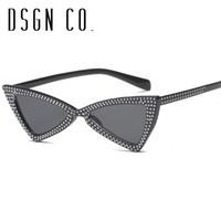 DSGN CO. 2018 Kadınlar Kedi Göz Çerçevesi için Perçin İnci Moda Güneş 6 Renk Güneş Gözlükleri UV400