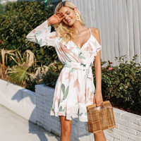 Hopeforth V - Escote redondo Bohemian Beach Dress Irregular Ruffles Summer Dress Mujeres 2018 Vendaje elegante Vestido corto Vestidos