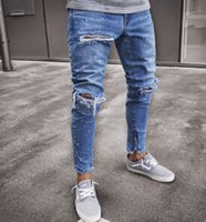 EU Street Biker Jeans for Men New Clothing Wear Denim Blue H...