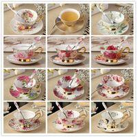 Elegante Bone China porcelana tazas de té y platillo de café cuchara de té de la tarde Conjunto Conjunto regalo de la taza de cerámica de estilo británico