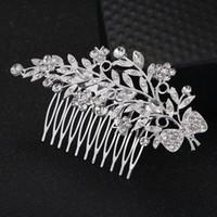 2019 새로운 프로모션 머리 핀 Feis 도매 패션 크리스탈 잎과 머리 장식 핀 빛나는 매력적인 나비 신부의 결혼식 액세서리