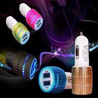 LED Light Car Charger Cigarette Auto Power Adapter Lättare Adapter för iPhone 8 5 6 7 Samsung S6 S7 Edge MP3 MP4 GPS