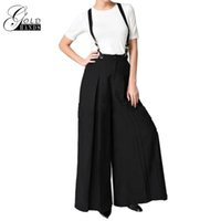 Women Fashion Black Overalls Trousers Women Loose Suspenders...