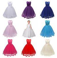 DHL 2018 Abito lungo Ragazze Abiti bambini principessa spettacolo formale Wedding Party Dress vestiti delle ragazze dei capretti di fiore della damigella d'onore di sfera