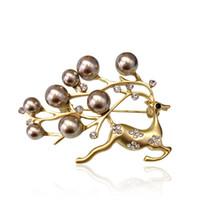 2019 abito coreano boutonniere pin perla sciarpa di seta di alta qualità fibbia spilla animale cervo carino accessori natalizi abbigliamento