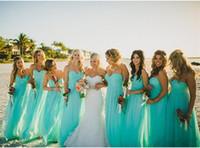 Abiti da damigella d'onore spiaggia di chiffon turchese economici plus size lunghezza abito da cerimonia party party per l'estate abito da sera formale