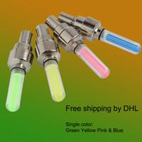 Envío libre de DHL rueda lámpara de la válvula de la rueda Luces de la rueda de la bicicleta a prueba de agua Luces de la bicicleta al aire libre 4 color para elegir Luces de Rueda Led
