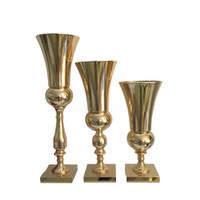 Vazolar Düğün Masa Çiçek Vazo Centerpieces Olay Yol Kurşun Altın / Gümüş Metal Vazolar Parti Dekorasyon Çiçek Sahipleri