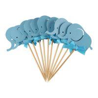 10 Teile / satz Elefanten Papierkarten Kuchen Toppers Banner für Cupcake Geburtstag Tea Party Hochzeit Decor Baby Dusche