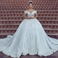 Luxury Lace Ball Gown Wedding Dresses Off The Shoulder V Nec...