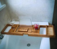 bathtub bamboo rack bath caddy wood frame bath tray shelf re...