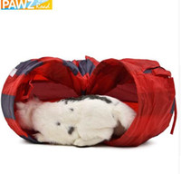 Pet Tunnel Cat Play Tunnel Red- Gray Foldable 2 Holes Cat Tun...