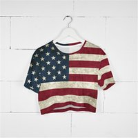 Crop T-shirt Vintage USA Drapeau 3D pleine impression fille taille libre stretch Casual Tops Lady manches courtes t-shirt Blouse (GL34004)