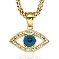 Olho do mal Colar de Pingente de Aço Inoxidável Incrustada de Cristal Turquia Boa Sorte Olho Azul Pingente de 60 cm Cadeia